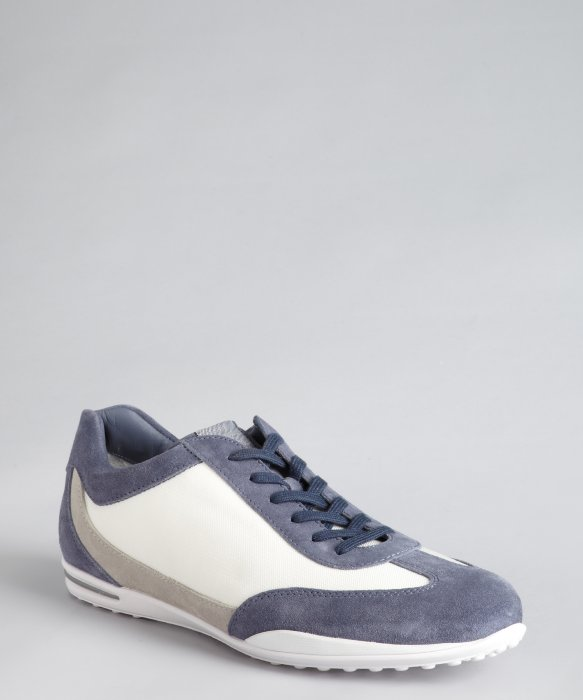 tod s t project white and blue canvas suede trim sneakers