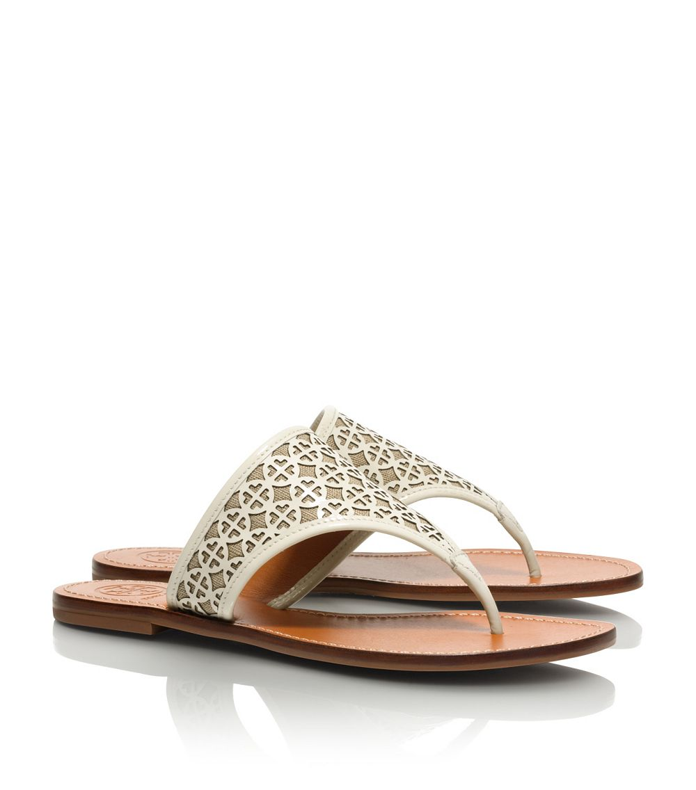 Tory Burch Amara Flat Thong Sandal In White Ivory Natural