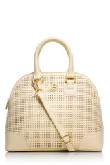 Tory Burch Robinson Perforated Small Dome Satchel - Lyst