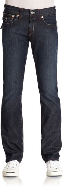 True Religion Red Stitched Straightleg Jeanslonestar - Lyst