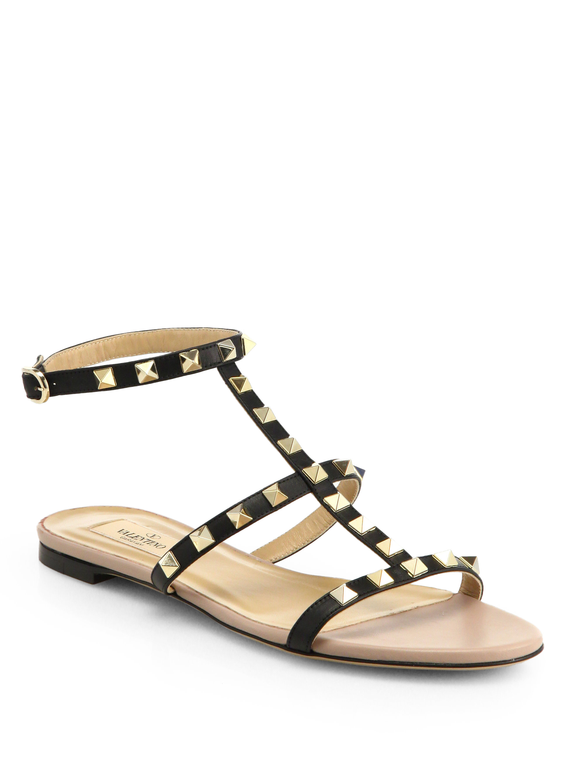 Valentino Rockstud Leather Gladiator Sandals In Black  Lyst-1592