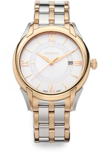 Versace Apollo Rose Gold Ip Stainless Steel Watch - Lyst
