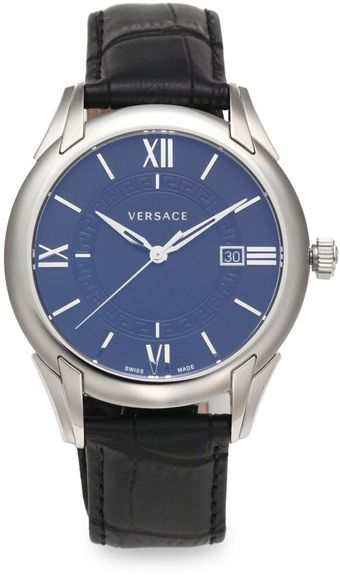 Versace Apollo Stainless Steel Leather Watch - Lyst
