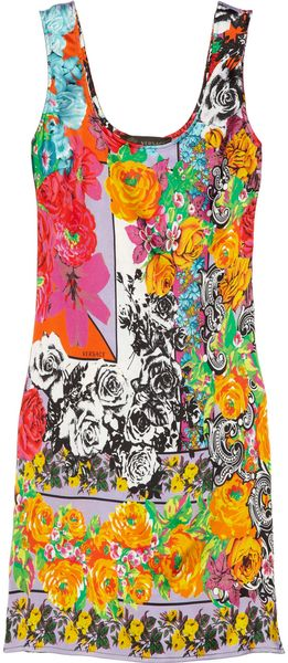 Versace Floralprint Stretchsilk Satin Tank Dress - Lyst