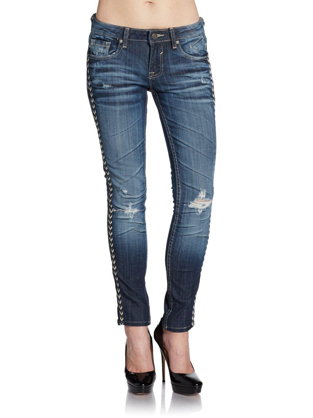 83db01f0b4f Lyst - Vigoss Jagger Embroidered Trim Skinny Jeans in Blue