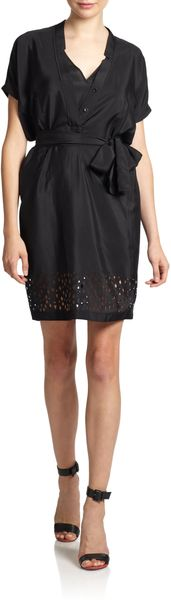 Yigal Azrouel Cutout Belted Dress - Lyst