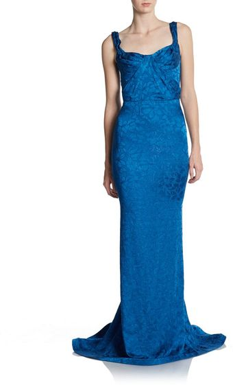 Zac Posen Sleeveless Pleated Bust Gown - Lyst