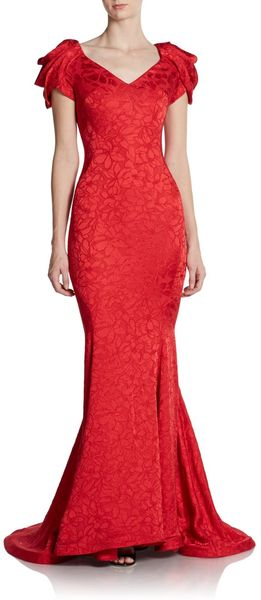 Zac Posen Draped Shoulder Trumpet Gown - Lyst