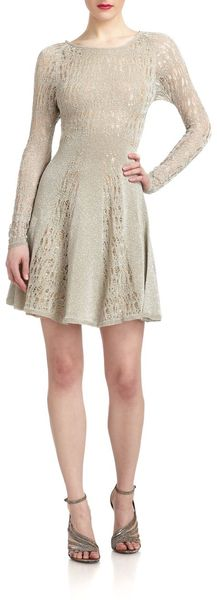 Zac Posen Lurex Pointelle Knit Dress - Lyst