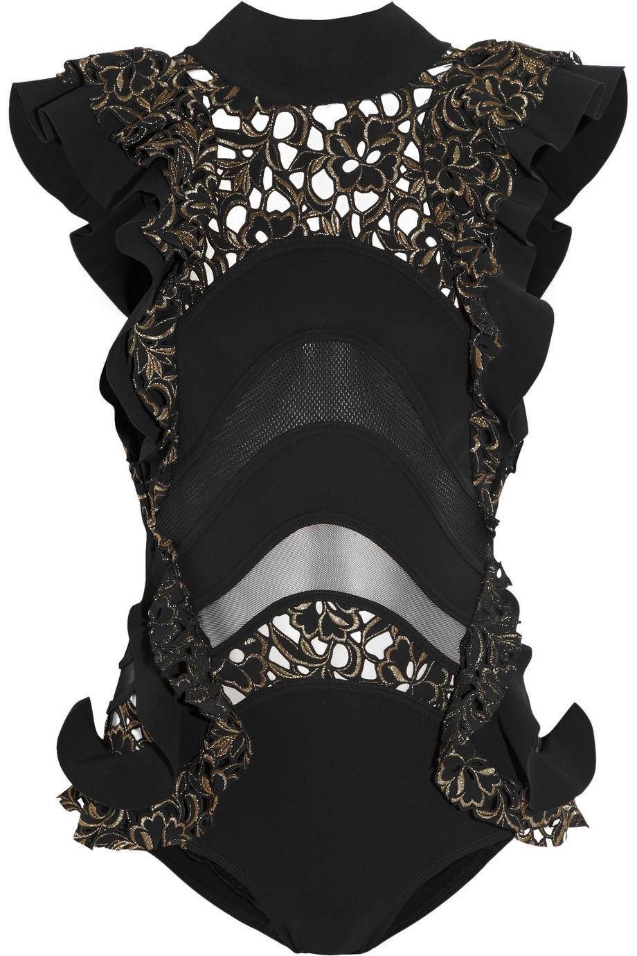 Lyst Zimmermann Good Love Ruffled Cutout Swimsuit In Black
