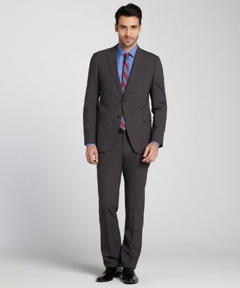 Armani Grey Wool 2 Button Suit with Flat Front Pants - Lyst