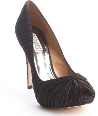Badgley Mischka Black Satin and Velvet Ribbed Rybe Peep Toe Pumps - Lyst