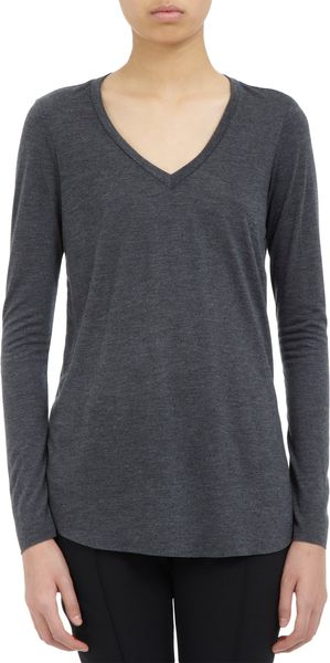 Barneys New York Jersey V-neck Longsleeve Tee - Lyst