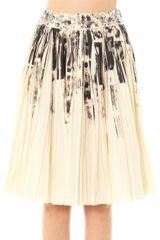 Bottega Veneta Colour Block On Light Print Pleat Skirt - Lyst