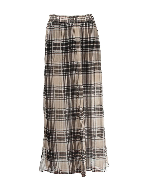 brunello cucinelli plaid maxi skirt in brown beigc002 lyst