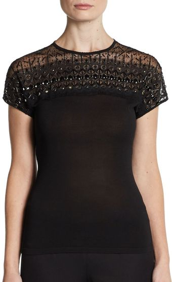 Carolina Herrera Beaded Lace Cap Sleeve Top - Lyst