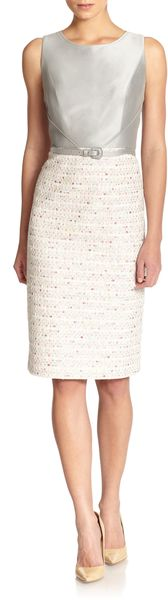 Carolina Herrera Mixed Media Sheath Dress - Lyst