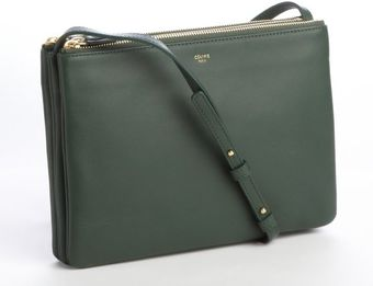 Celine Hunter Green Leather Trio Convertible Pouch Bag - Lyst