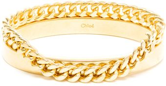Chloé Gold Bangle and Chain Bracelet - Lyst