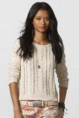 Denim & Supply Cableknit Crewneck Sweater - Lyst