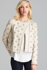 Diane Von Furstenberg Jacket Cocoa Studded Leather - Lyst