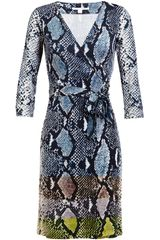 Diane Von Furstenberg New Julian Python Printed Silk Jersey Wrap Dress - Lyst