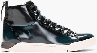 Diesel Deep Green Patent Brushed Diamond High_tops - Lyst