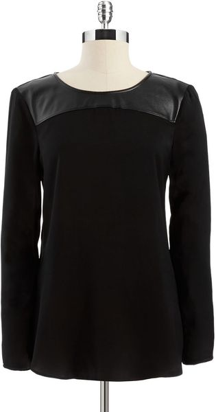 DKNY Blouse with Faux Leather Yolk - Lyst