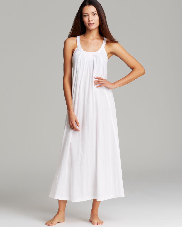 Lyst - Donna Karan Pima Cotton Long Nightgown in White