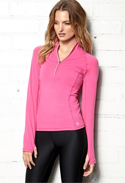 Forever 21 high collar running jacket in pink hot pink for Hot pink running shirt