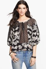 Free People Moon River Crocheted Panel Peasant Top - Lyst