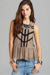 Free People Top Lace and Stripe Peplum - Lyst