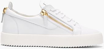 Giuseppe Zanotti White Leather Low Top Zipped Sneakers - Lyst