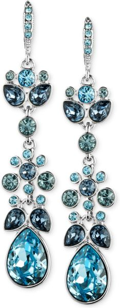 Givenchy Blue Swarovski Crystal Chandelier Earrings In
