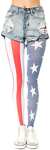 House Of Holland The Stars and Stripes Tights - Lyst
