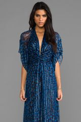 Issa Chiffon Metallic Short Sleeve Maxi Dress in Navy - Lyst