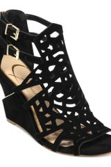 Jessica Simpson Rabah Laser Cut Wedge Sandals - Lyst