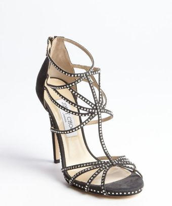 Jimmy Choo Black Suede Crystal Studded Heel Sandals - Lyst