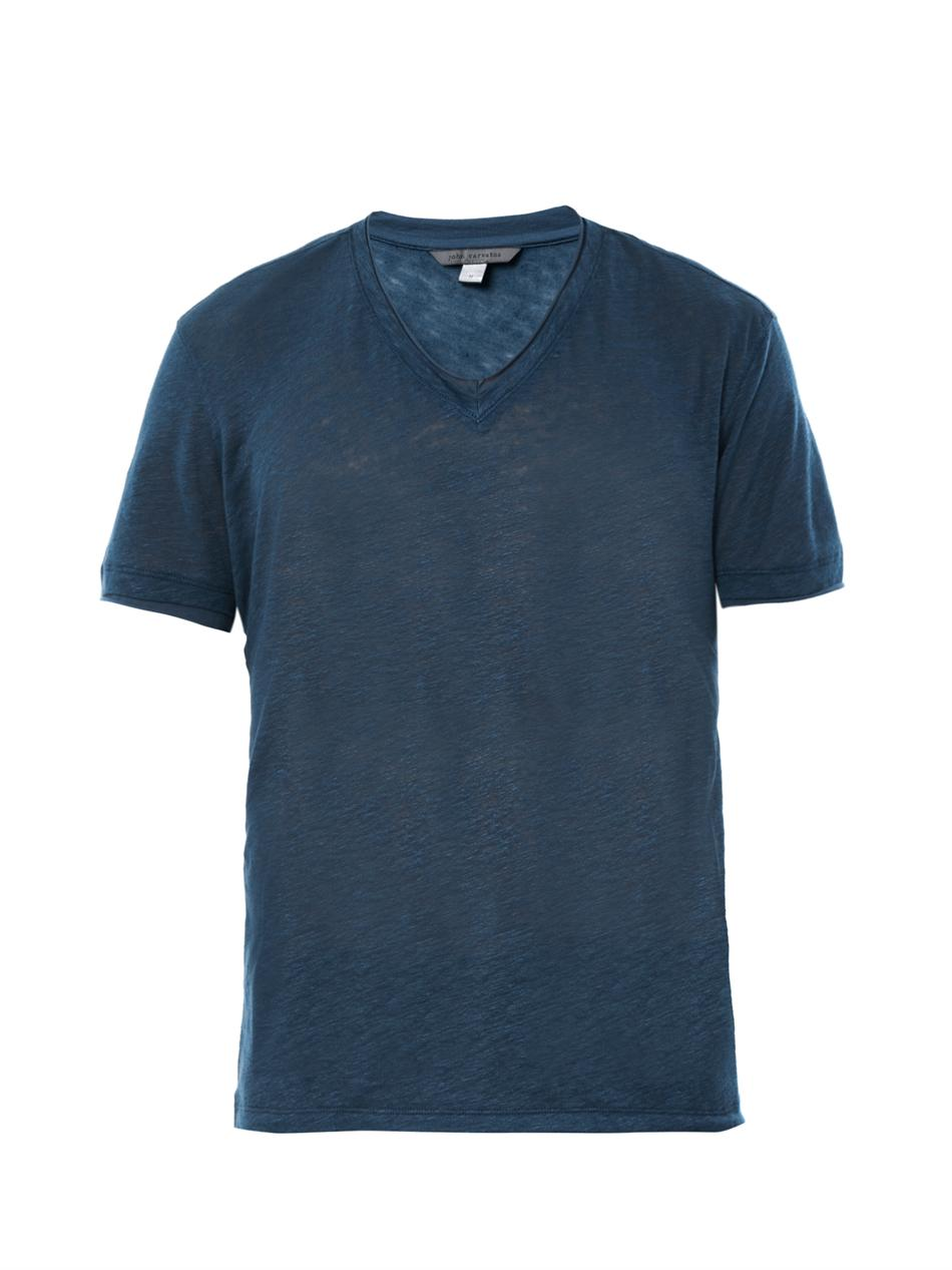 john varvatos v neck t shirt in blue for men navy lyst
