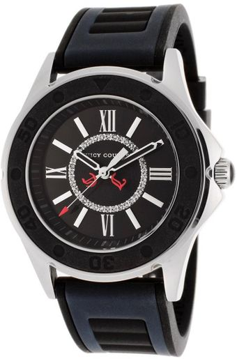 Juicy Couture Womens Black Dial Navy Blue Black Rubber - Lyst