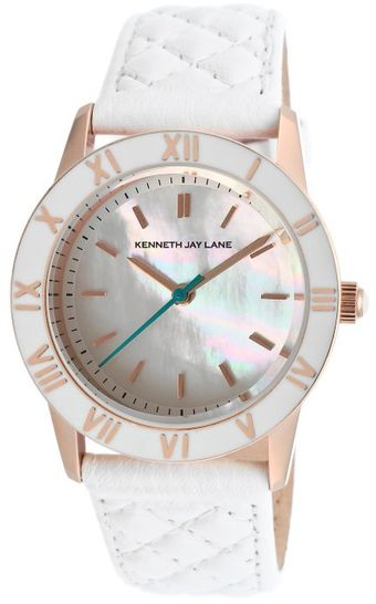Kenneth Jay Lane Womens White Mother Of Pearl Dial White Genuine Leather Kjlane Watch - Lyst