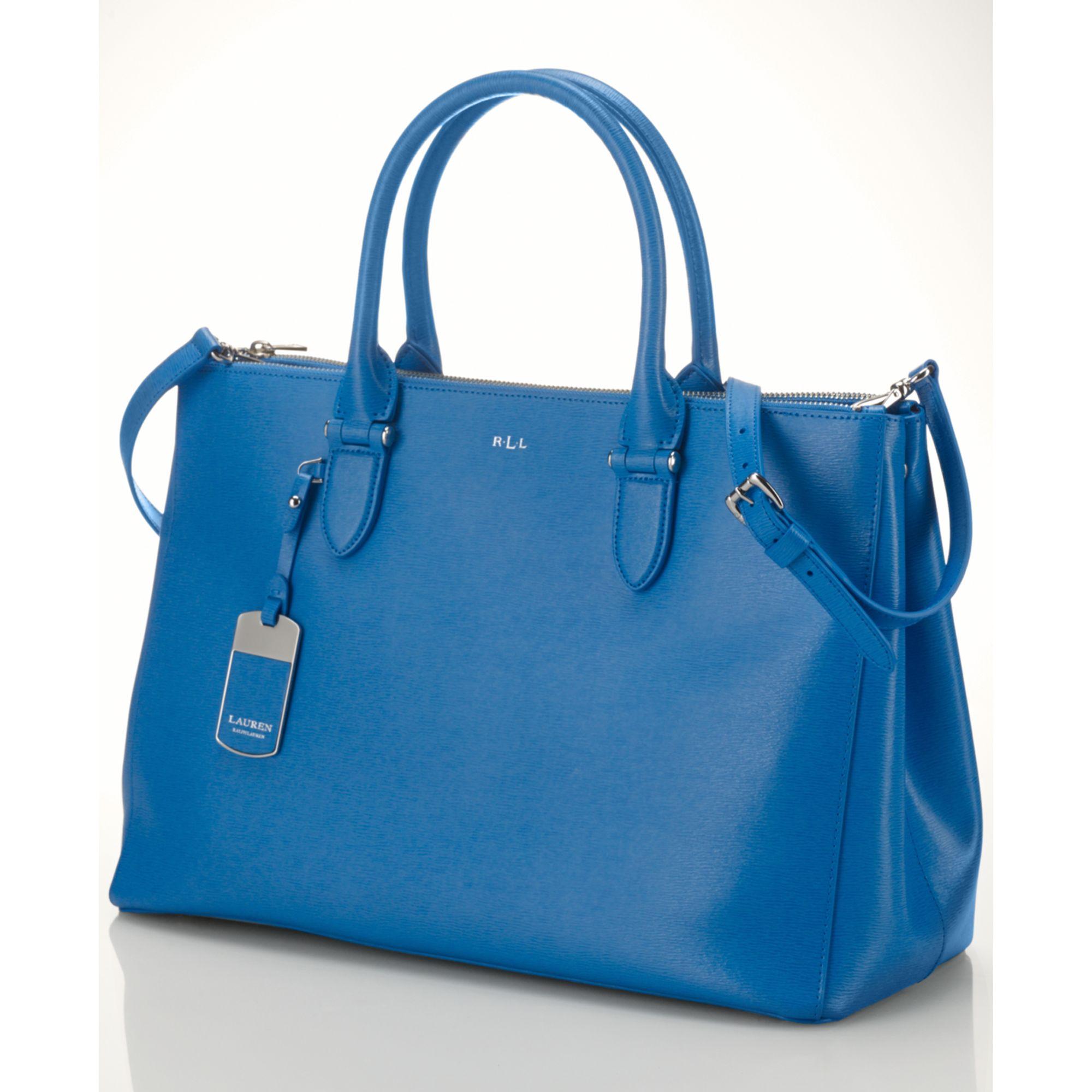 694ba6caf8a Lyst - Lauren by Ralph Lauren Newbury Double Zip Satchel in Blue