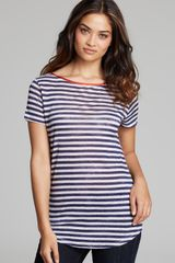 Majestic Short Sleeve Linen Stripe Tee - Lyst