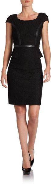 Marc New York By Andrew Marc Faux Leather Trimmed Peplum Dress - Lyst