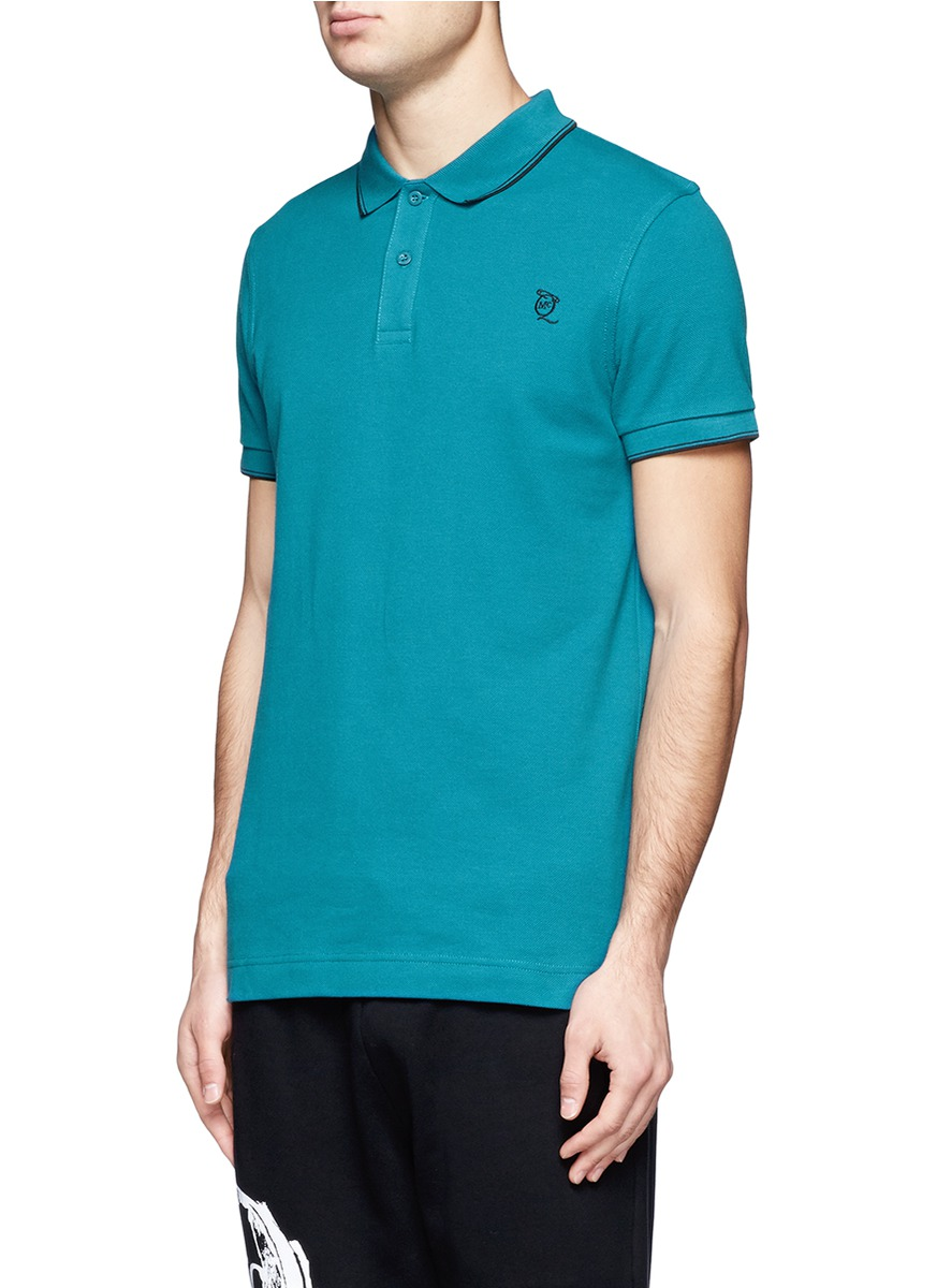 Mcq logo embroidered cotton polo shirt in blue for men lyst for Cotton polo shirts with logo