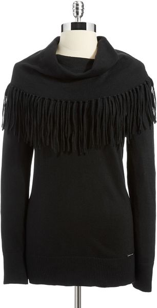 Michael by Michael Kors Fringe Cowl Neck Sweater - Lyst
