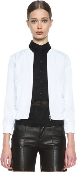 Mm6 By Maison Martin Margiela Cropped Varsity Jacket - Lyst