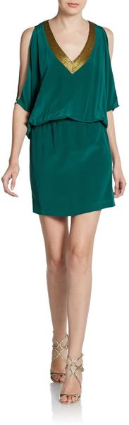 Nicole Miller Silk Embellished V-neck Blouson Dress - Lyst