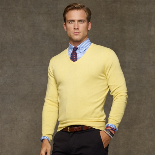 Polo ralph lauren Cashmere V-Neck Sweater in Yellow for Men | Lyst