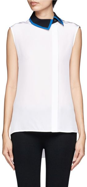 Preen Nora Off-centre Contrast Collar Silk Blouse - Lyst